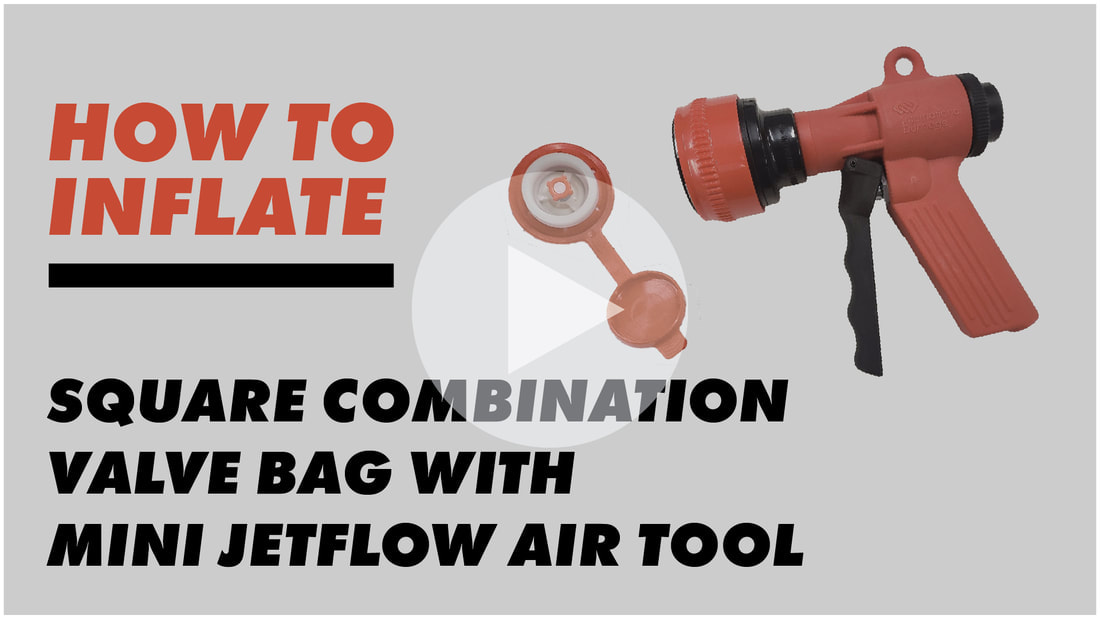inflating the Square Combination Valve Bag ​with the Mini Jetflow Air Tool
